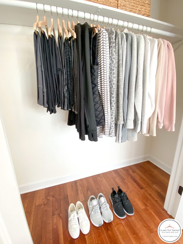 26 Piece Winter 2020 Athleisure Capsule Wardrobe - closet side
