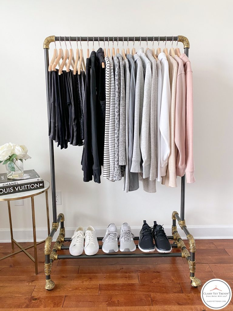 26 Piece Winter 2020 Athleisure Capsule Wardrobe - clothes rack