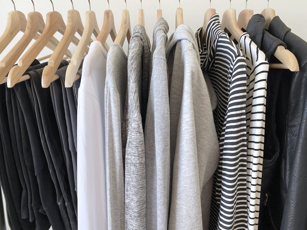 Simplified Style Athleisure Capsule Wardrobe - preview clothes rack front