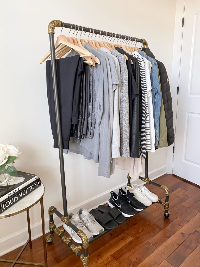 Simplified Style Athleisure Capsule Wardrobe - preview clothes rack side