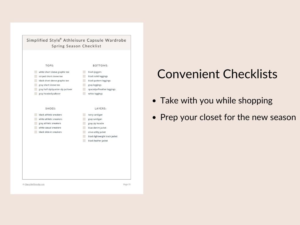 Simplified Style Athleisure - Checklist