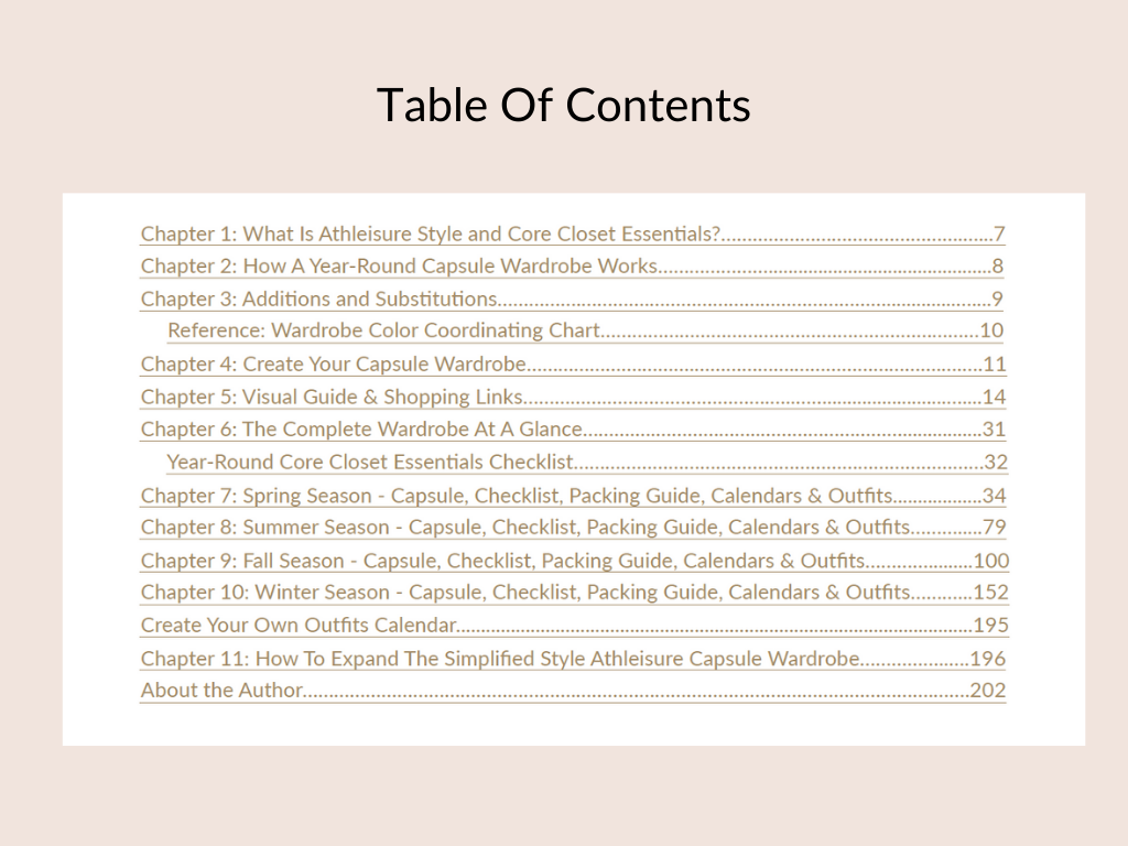 Simplified Style Athleisure - Table of Contents