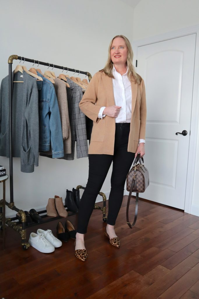 6 Ways To Wear White Shirt - Camel Sweater Blazer Black Jeans Leopard Flats Louis Vuitton Speedy Bag
