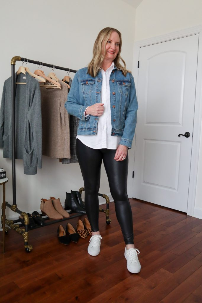 6 Ways To Wear White Shirt - Denim Jacket Faux Leather Leggings Casual Sneakers
