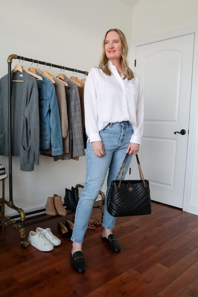 6 Ways To Wear White Shirt - Liquid Lyocell Levis Jeans Black Mules Tory Burch Tote