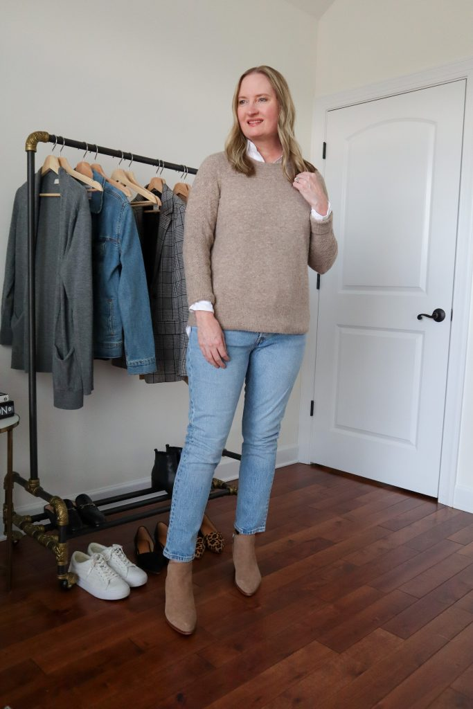 6 Ways To Wear White Shirt - Tan Sweater Levis Jeans Taupe Ankle Boots