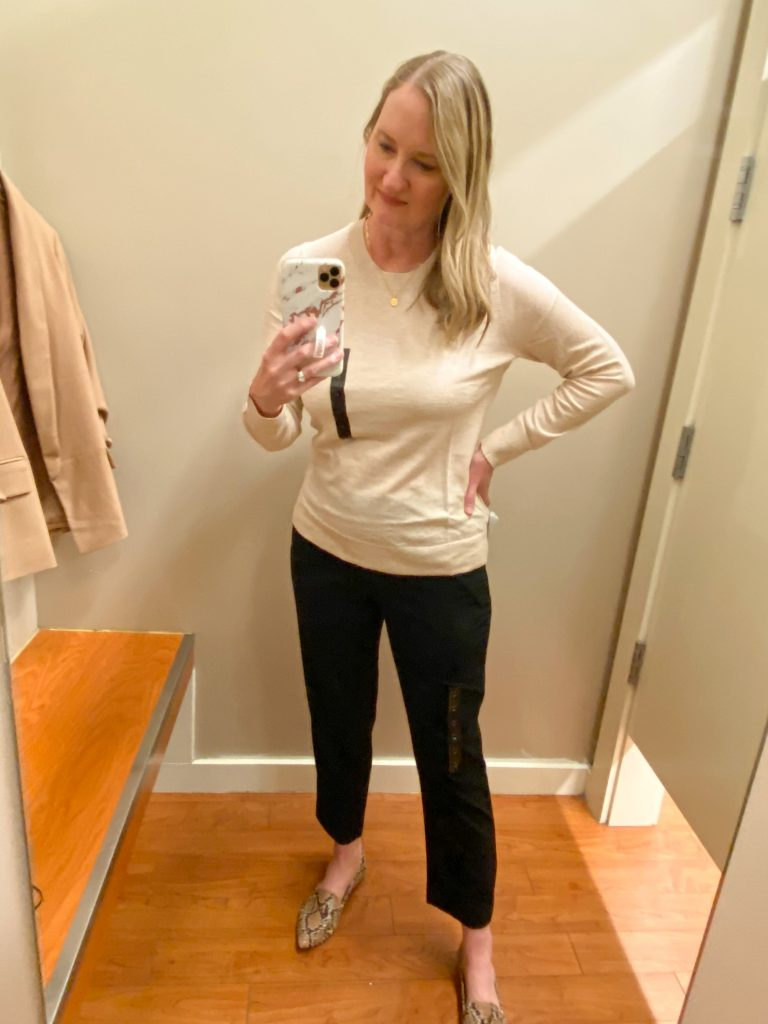 Try-On Session February 2021 - Banana Republic Factory ivory sweater black pants