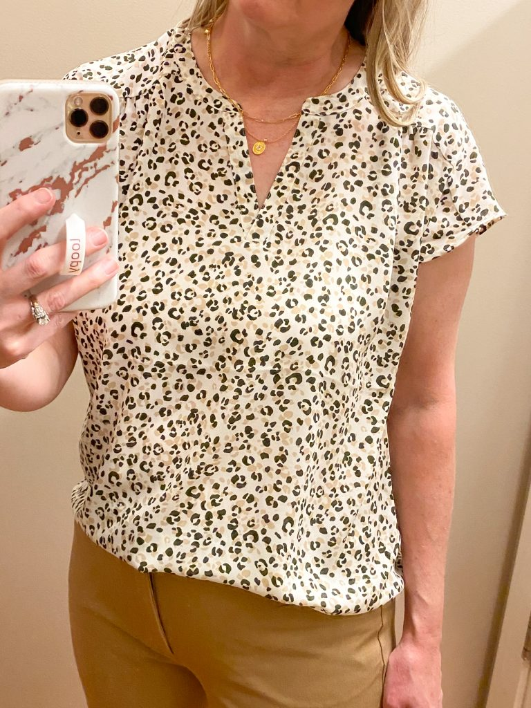 Try-On Session February 2021 - Banana Republic Factory leopard top