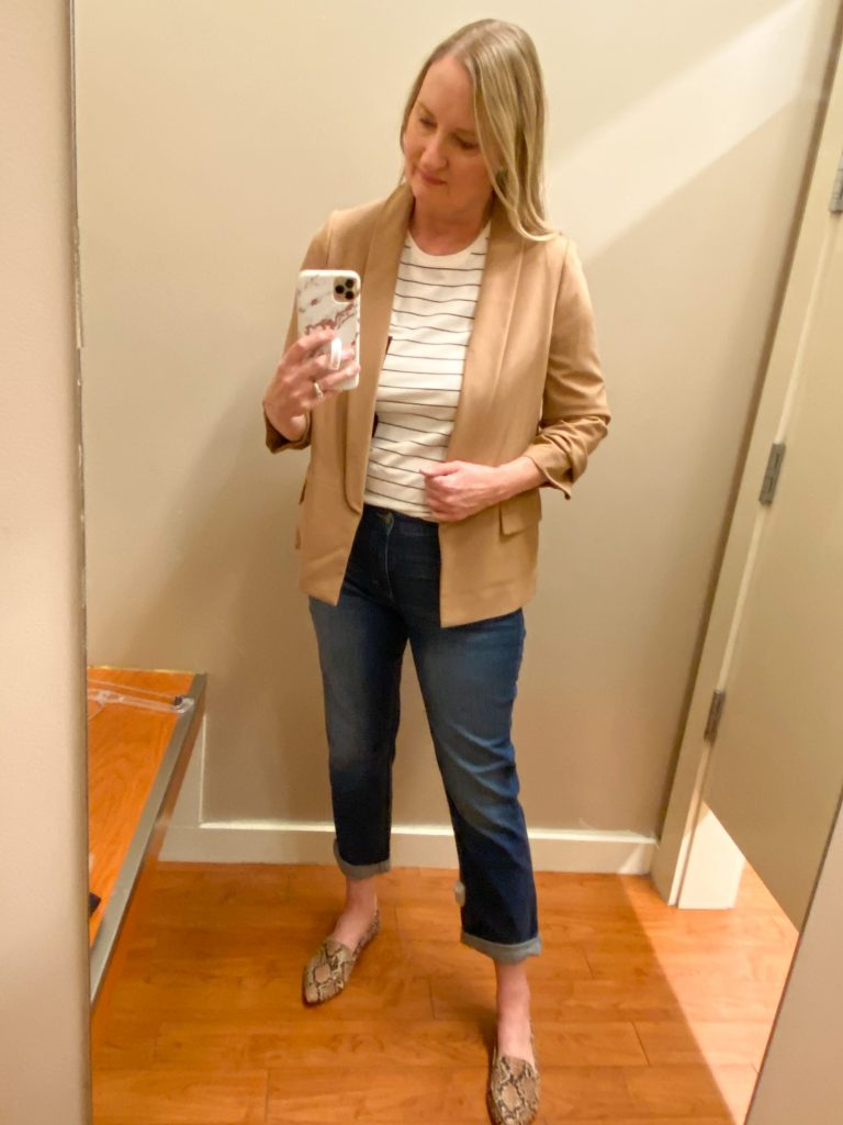 Try-On Session February 2021 - Banana Republic Factory striped tee camel blazer girlfriend jeans