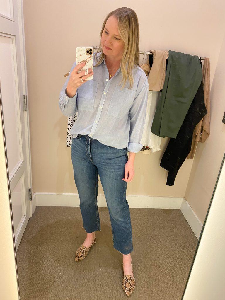 Try-On Session February 2021 - Loft blue stripe shirt straight jeans