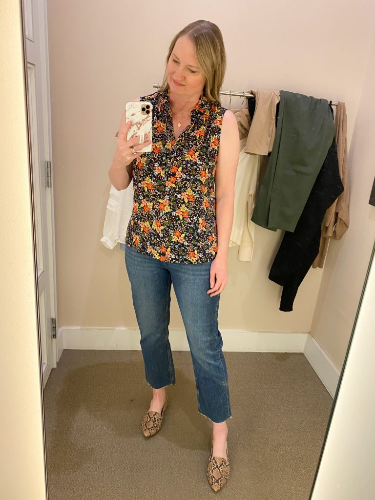 Try-On Session February 2021 - Loft floral shell straight jeans