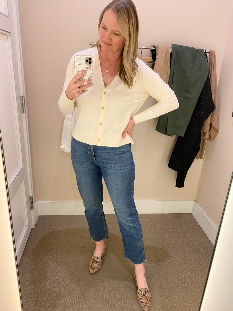 Try-On Session February 2021 - Loft v-neck cardigan straight jeans