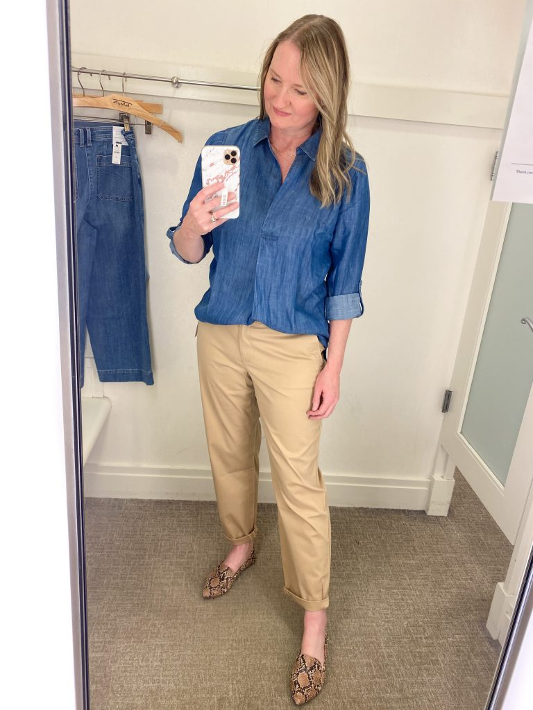 Try-On Session February 2021 - Talbots chambray tunic tucked chinos pants