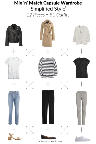 Mix n Match Capsule Wardrobe Simplified Style 12 Pieces