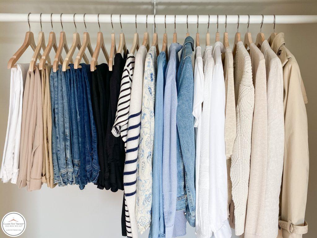 My French Minimalist Spring 2021 Capsule Wardrobe - closet closeup