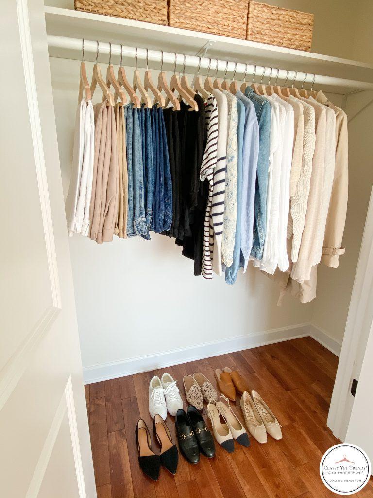 My French Minimalist Spring 2021 Capsule Wardrobe - closet side