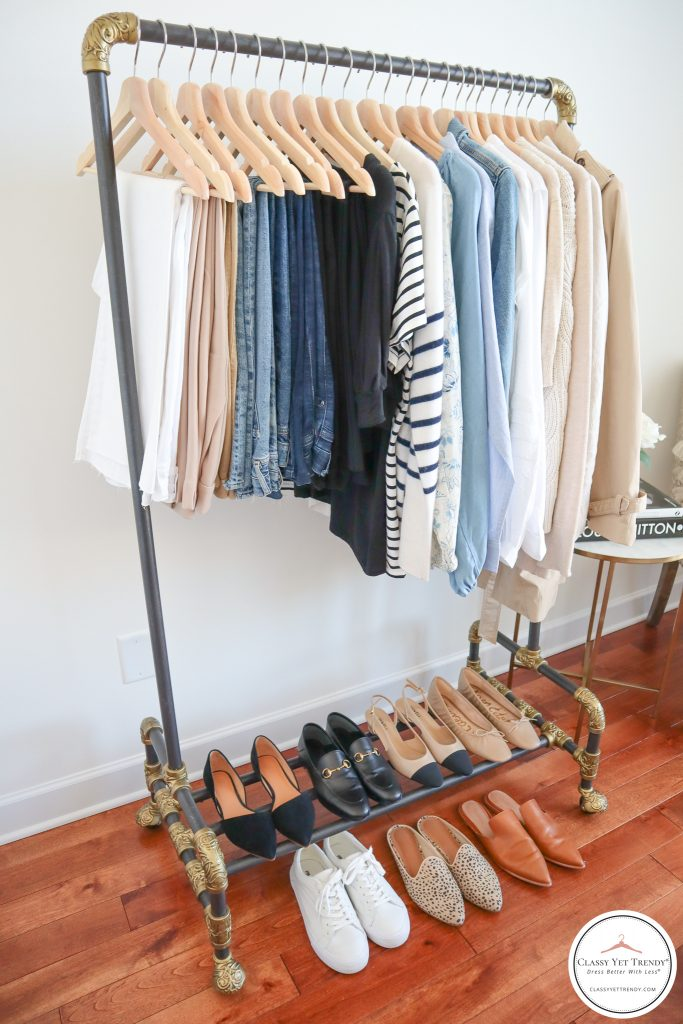 My French Minimalist Spring 2021 Capsule Wardrobe - clothes rack side