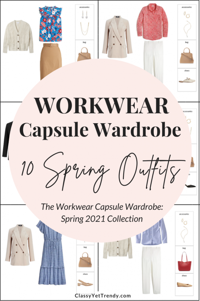 Workwear Capsule Wardrobe Spring 2021 - 10 Outfits Preview Pin