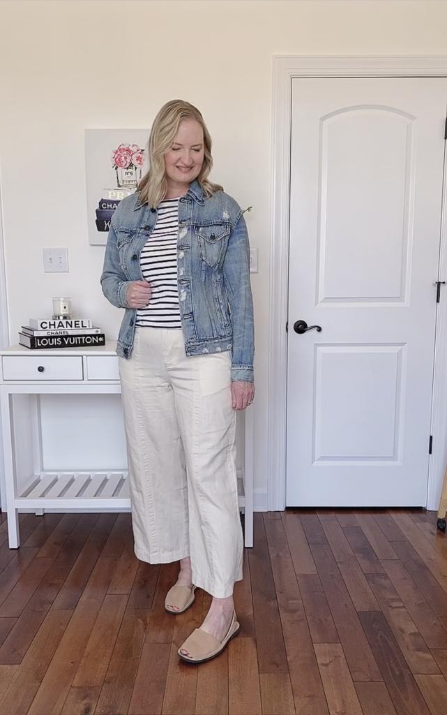 3 Ways To Wear ABLE Merly Denim Jacket - Boden breton stripe tee Loft linen wide leg pants Avarcas Pons sandals