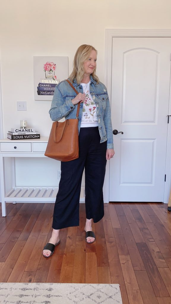 3 Ways To Wear ABLE Merly Denim Jacket - Etsy graphic tee Old Navy black linen wide leg pants slide sandals