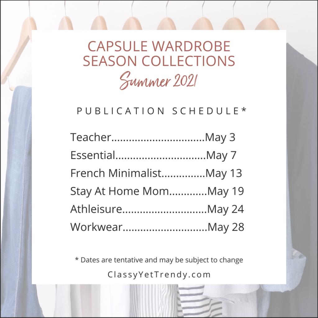 Capsule Wardrobe eBooks Publication Schedule - Summer 2021