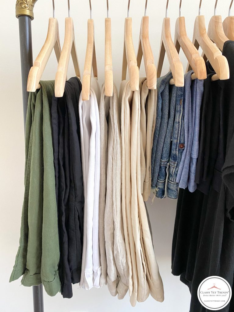 My Summer 2021 Capsule Wardrobe - bottoms clothes rack