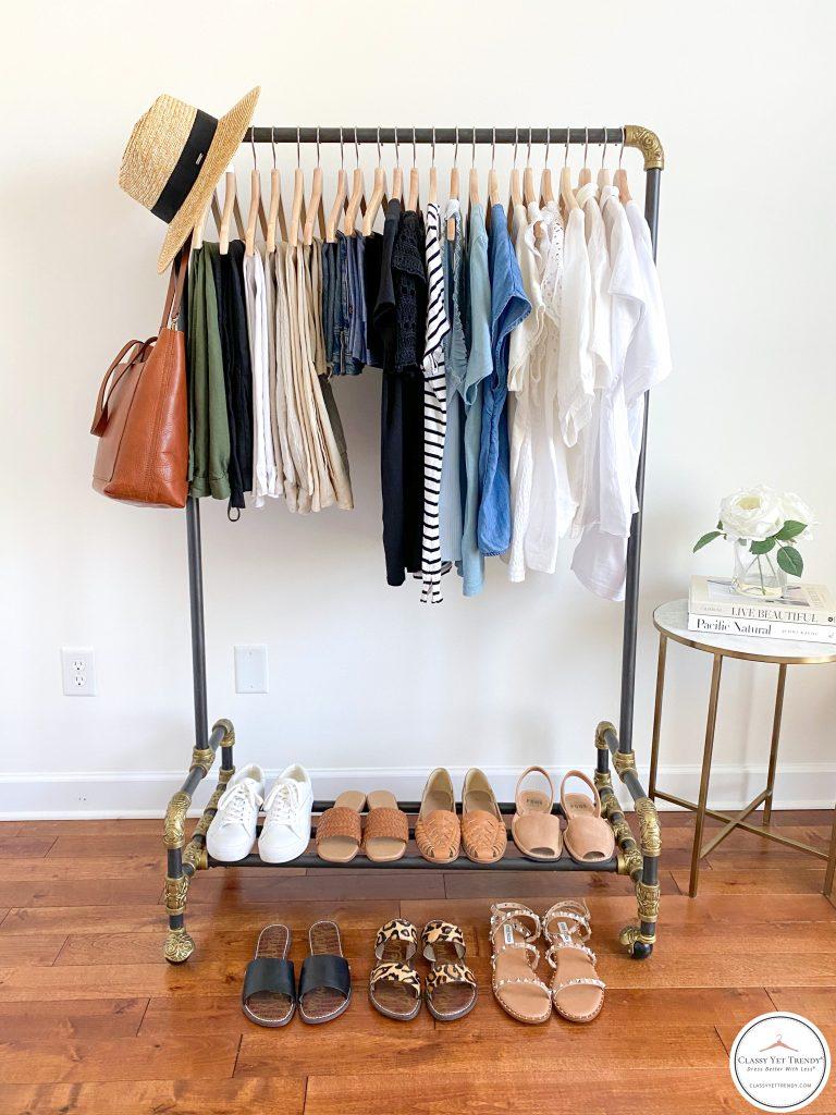 My Summer 2021 Capsule Wardrobe - clothes rack full