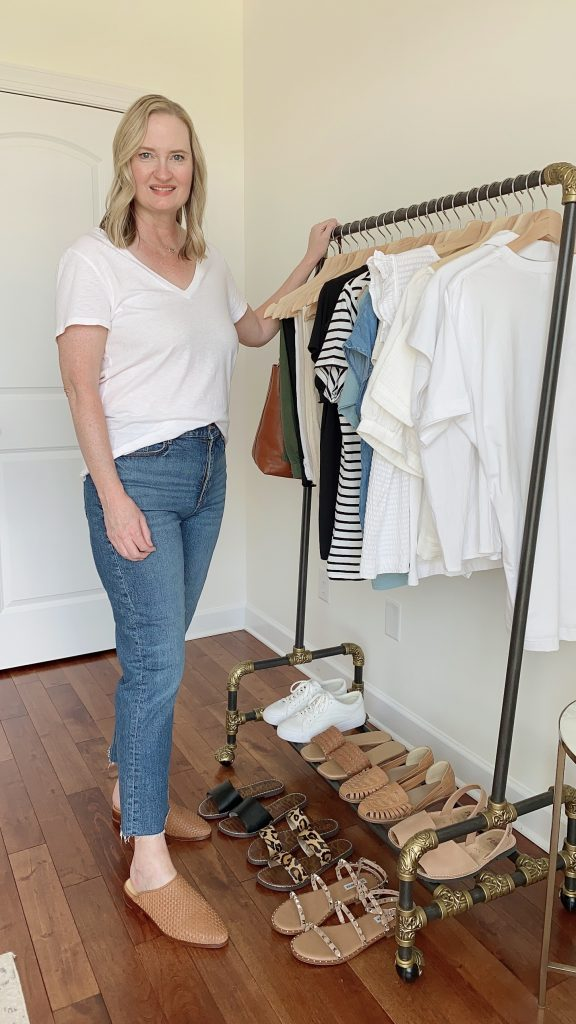 My Summer 2021 Capsule Wardrobe - me at clothes rack front