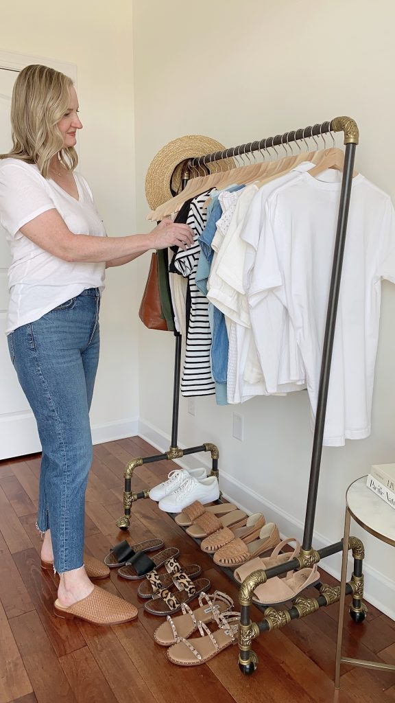 My Summer 2021 Capsule Wardrobe - me at clothes rack front side