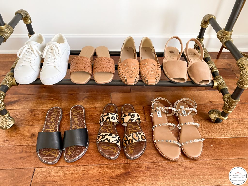 My Summer 2021 Capsule Wardrobe - shoes clothes rack