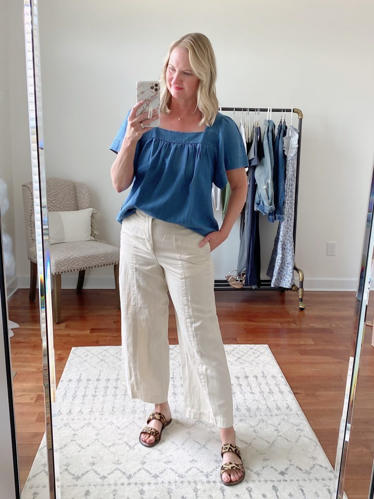 Old Navy Target Loft Try-On Apr 2021 - Loft chambray square neck top seamed pants sam edelman gala sandals