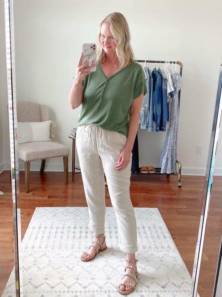 Old Navy Target Loft Try-On Apr 2021 - old navy green linen top high waist linen pants steve madden stud sandals