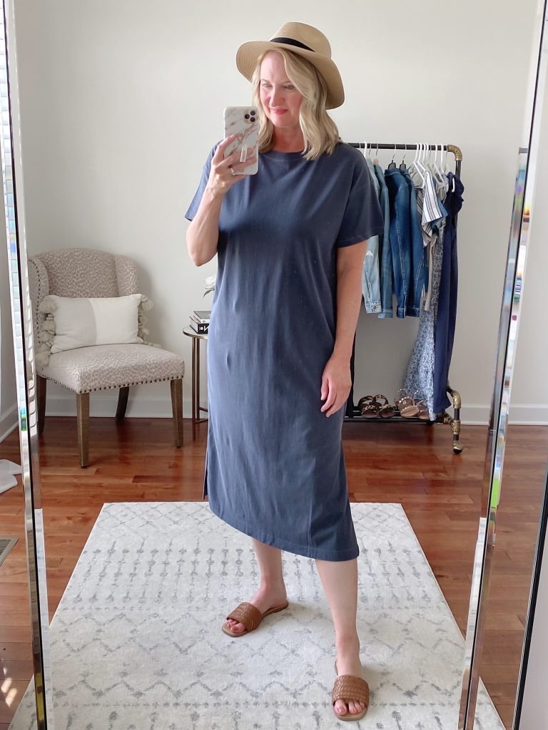 Old Navy Target Loft Try-On Apr 2021 - old navy t shirt dress madewell packable fedora hat liane sandals