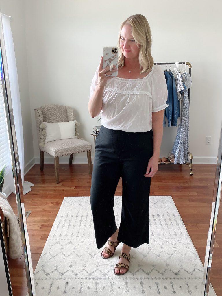 Old Navy Target Loft Try-On Apr 2021 - old navy white ruffle top black culotte pants sam edelman gala sandals