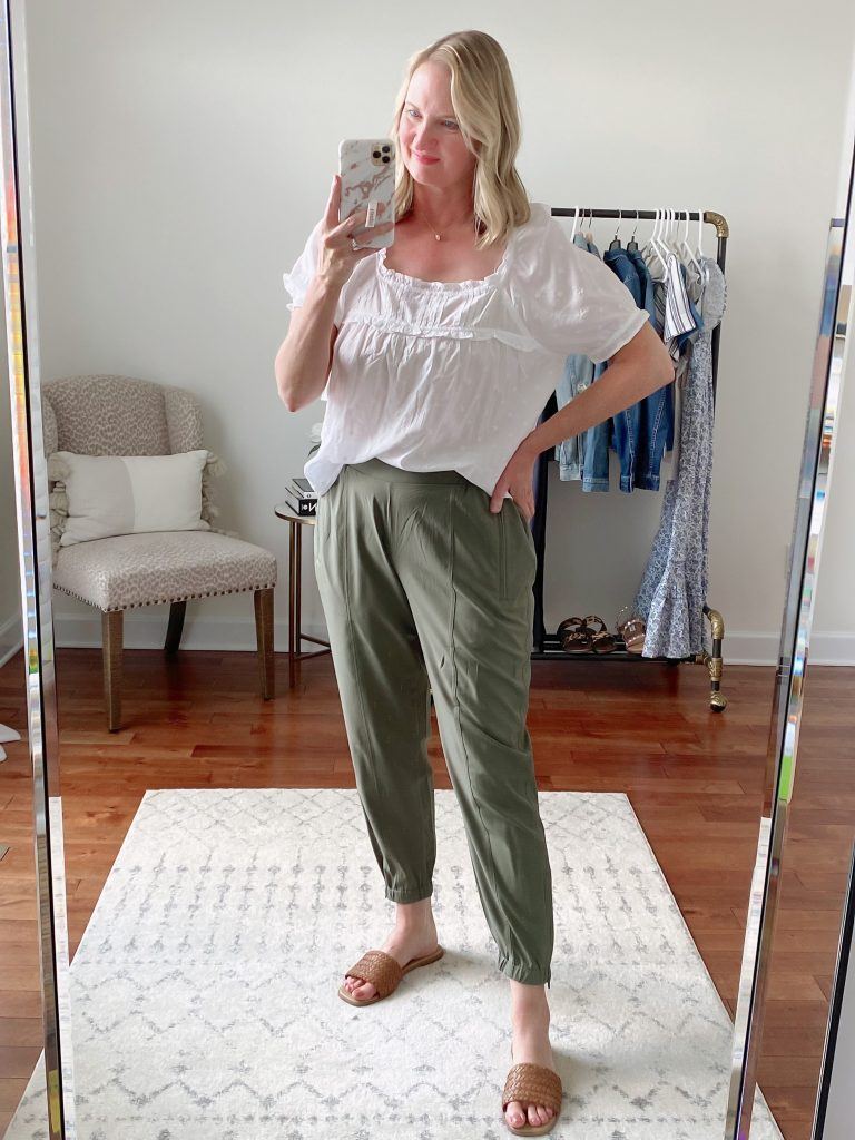 Old Navy Target Loft Try-On Apr 2021 - old navy white ruffle top green tech jogger pants madewell liane sandals