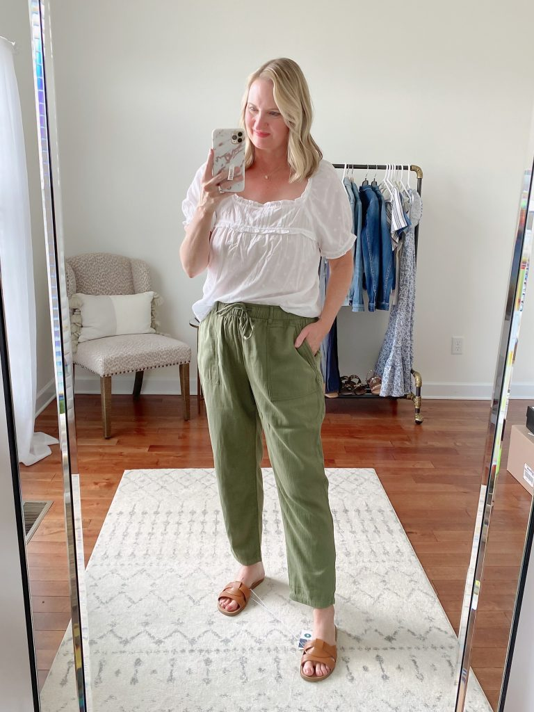Old Navy Target Loft Try-On Apr 2021 - old navy white ruffle top green twill utility pants target sandals