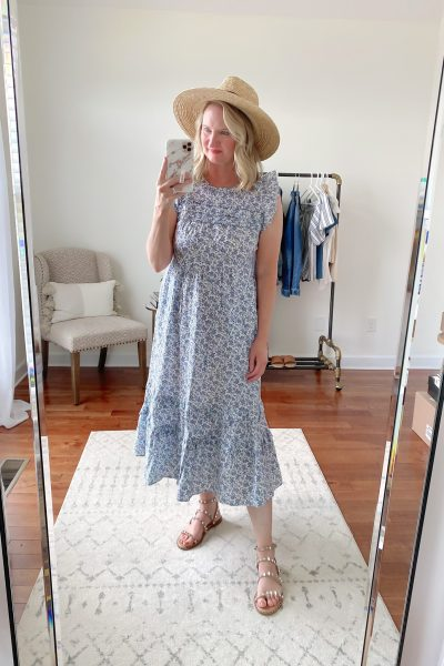 Old Navy Target Loft Try-On Apr 2021 - target floral ruffle dress brixton straw hat steve madden stud sandals-2