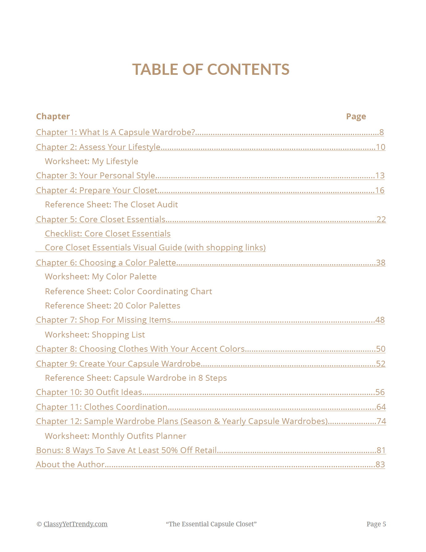 The Essential Capsule Closet - Table of Contents