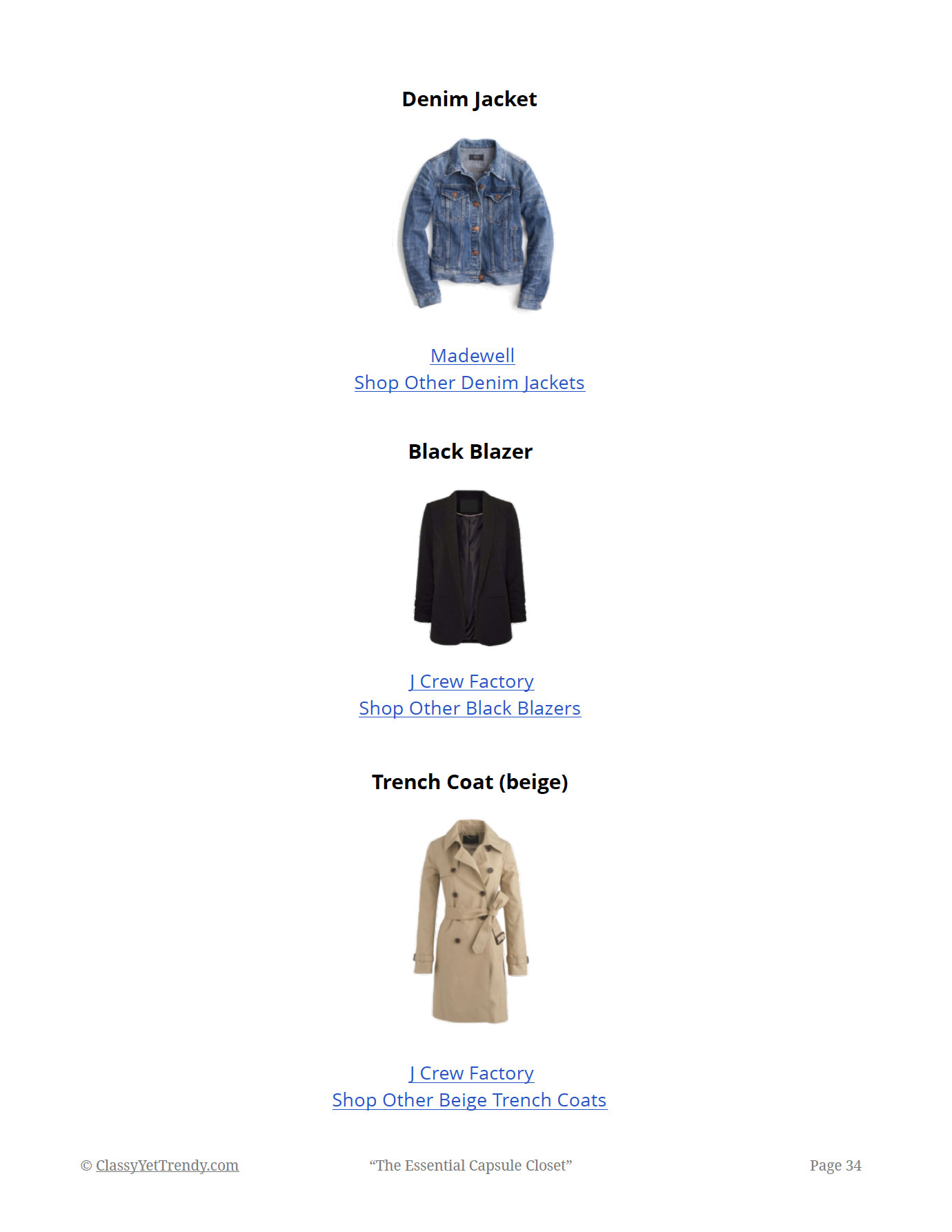 The Essential Capsule Closet - shopping links page