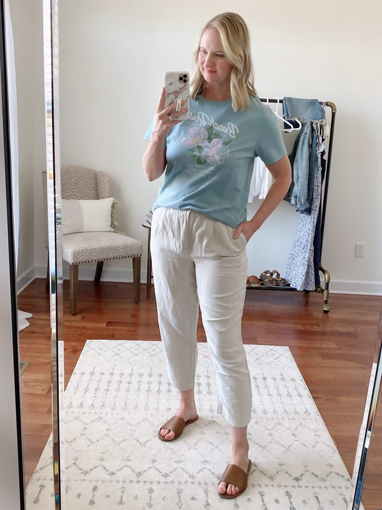 Try-On Session April 2021 Madewell J Crew - Madewell Beach Rose Tee Linen Track Trousers Boardwalk Slide Sandals
