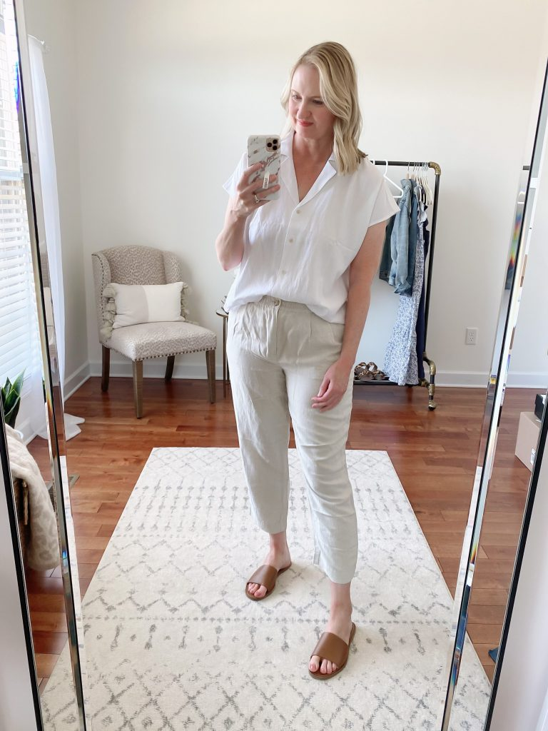 Try-On Session April 2021 Madewell J Crew - Madewell Cap Sleeve Camp Shirt Linen Track Trousers Boardwalk Slide Sandals
