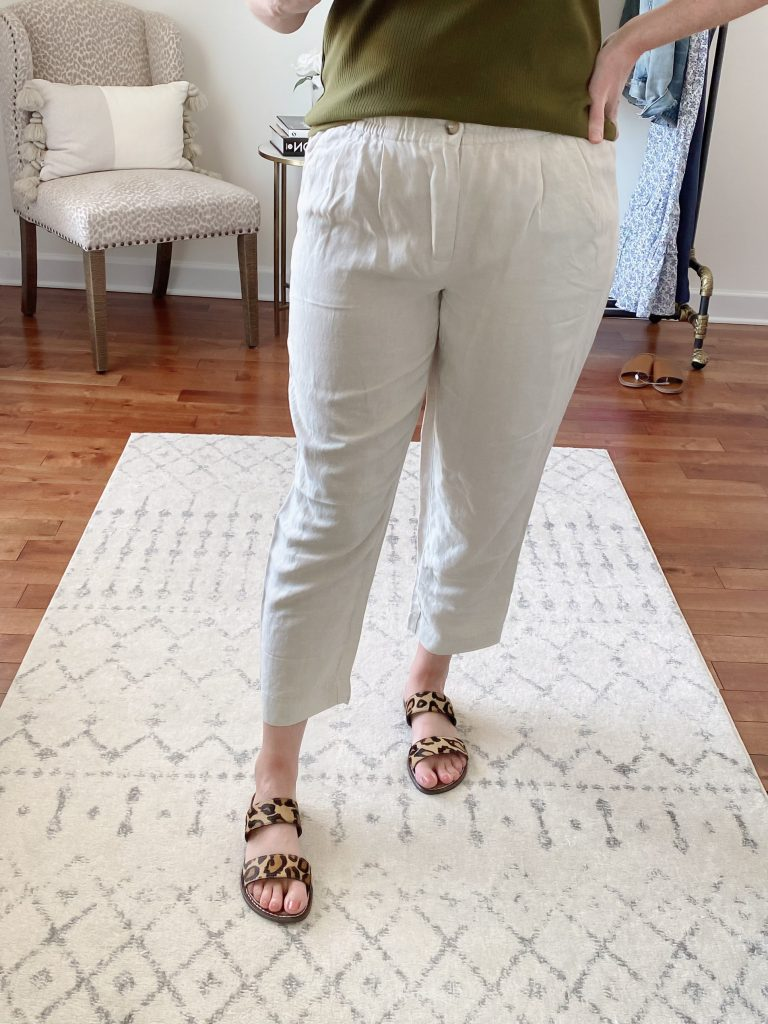 Try-On Session April 2021 Madewell J Crew - Madewell Linen Track Trousers closeup