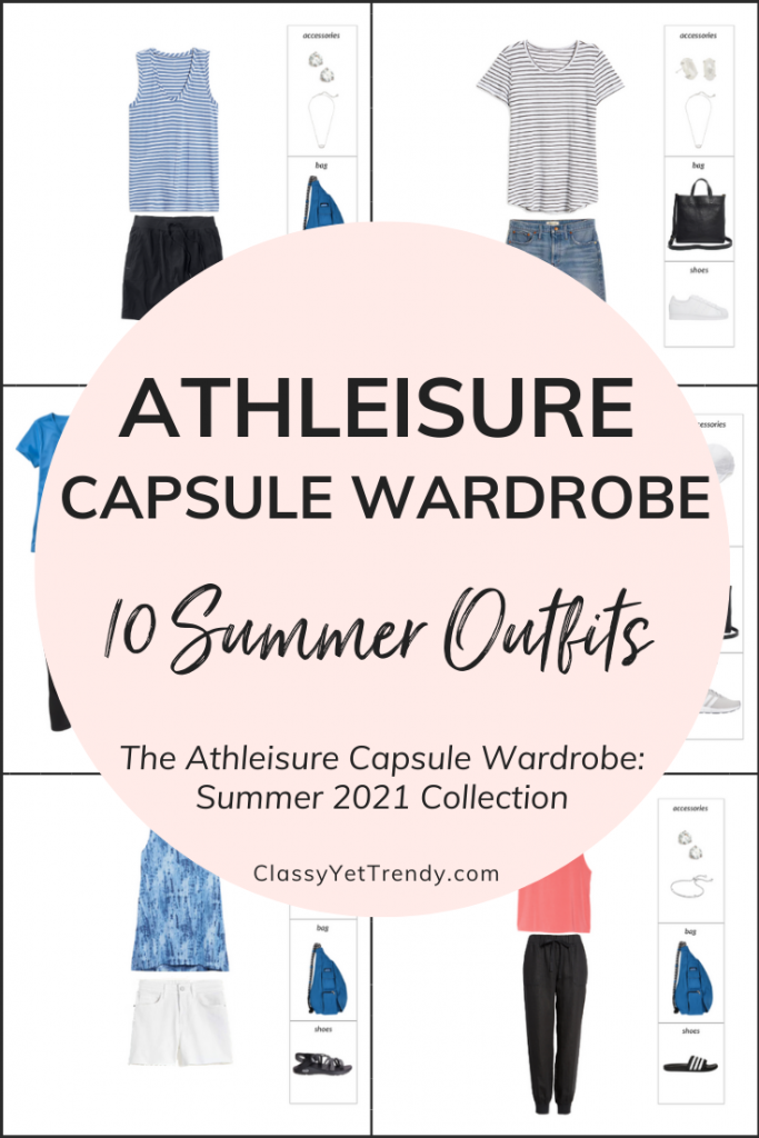 Athleisure Capsule Wardrobe Summer 2021 - 10 Outfits Pin