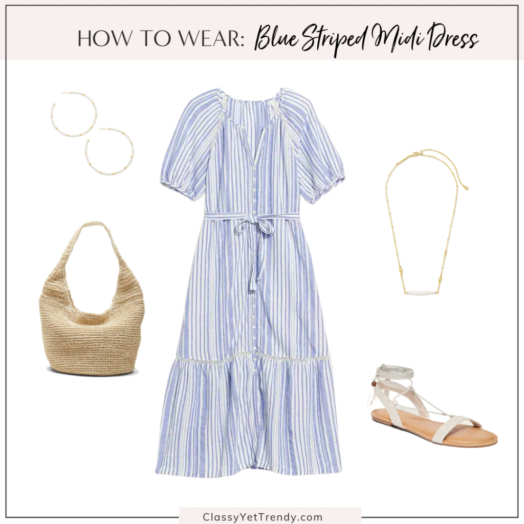 Classy Yet Trendy Outfit Idea Blue Striped Midi Dress