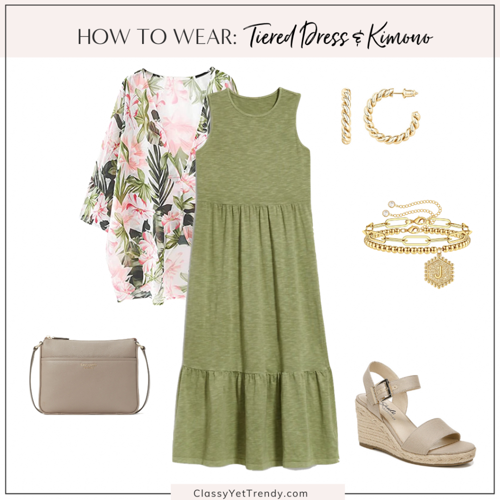 Classy Yet Trendy Outfit Idea Teired Dress and Kimono