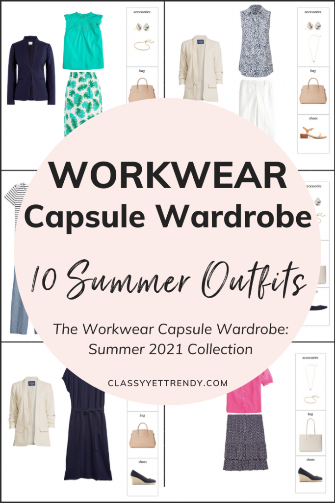 Workwear Capsule Wardrobe Summer 2021 - 10 Outfits Preview Pin