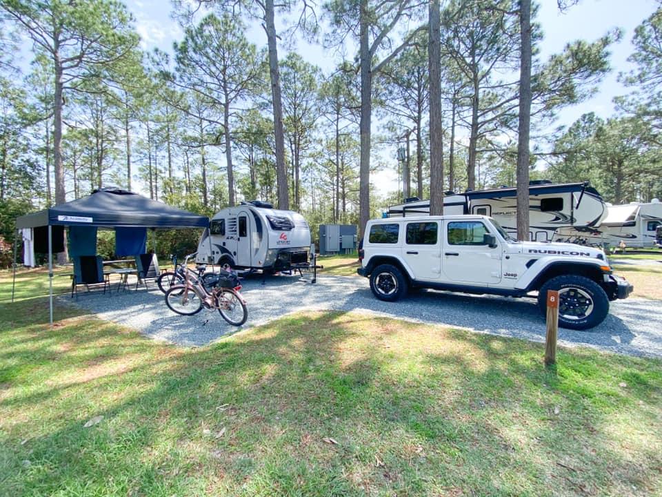 Camping Jeep and Camper at Top Sail Campground