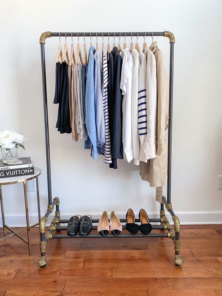 French Minimalist Capsule Wardrobe Spring 2021 - clothes rack