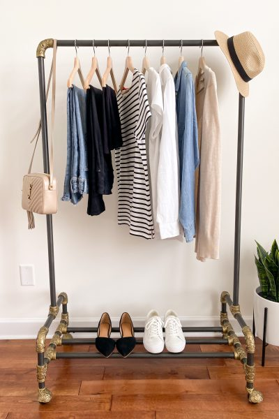 How To Start A Capsule Wardrobe For Beginners 4 Steps - clothes rack front
