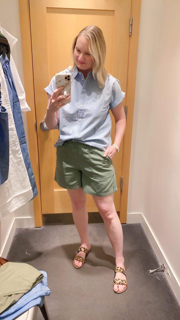 J Crew Try-On Reviews June2021 - chambray shirt green shorts
